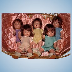"""1930's Madame Alexander Dionne Minty quintuplets 8"""" Toddlers extras!"""
