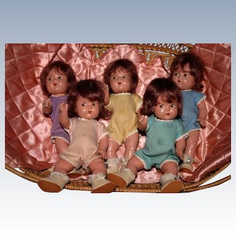 "1930's Madame Alexander Dionne Minty quintuplets 8"" Toddlers many extras!"