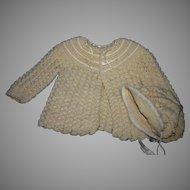 Crocheted Baby Doll sweater bonnet set