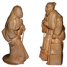 Japanese statues signed stamped stoneware