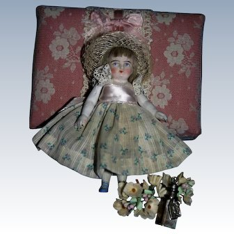 "4"" French Mignonette all bisque doll miniature"