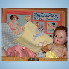 """1940's Effanbee 12"""" Mold 3 Dy-Dee kin with Complete Layette multi drawer trunk"""
