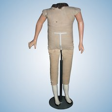 """Fantastic 17"""" cloth doll body with compo wood limbs"""