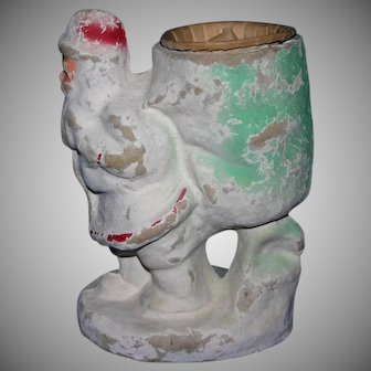 """Large 7"""" tall Antique Santa Candy container Mache"""