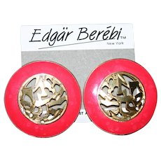 Coral red enameled Edgar Berebi pierced earrings Mint