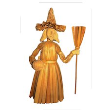 """15"""" corn husk carved Halloween Witch doll"""