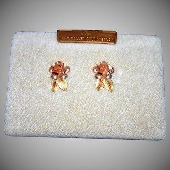 1970's  rolled Gold 14 kt Rose earrings