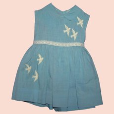 Vintage 50's blue cotton dove child's dress
