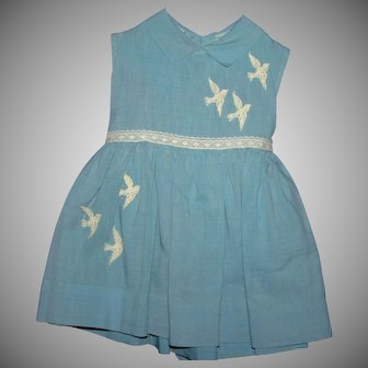 Vintage 50's blue cotton dove child's dress