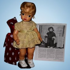 "1950s TERRI LEE hard plastic 16"" BLONDE DOLL  bonus patterns"