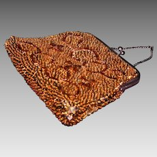 Vintage gold beaded sequin holiday clutch purse