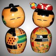 Pair of Vintage Asian Oriental Bobble head dolls