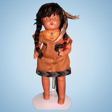 "16"" Composition Native American Indian doll"