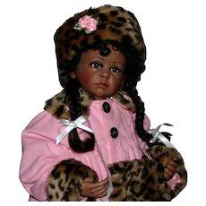 """25"""" Artist black bisque Susie doll Gorgeous"""