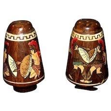Wooden Roman theme Salt and Pepper shaker set
