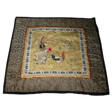 Chinese Asian  Silk Embroidered Rooster panel