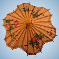 Vintage Asian bamboo LG doll umbrella