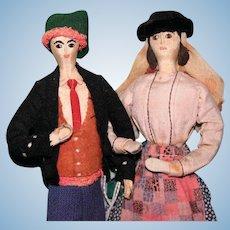 Portuguese Man and Woman cloth regional folk art dolls