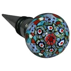 Vintage glass Millefiori wine stopper