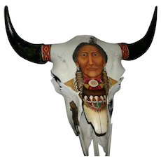 Native American Artist original oil on Large Buffalo skull