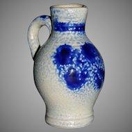 "Salt glazed cobalt 3 3/4"" Jug pitcher"