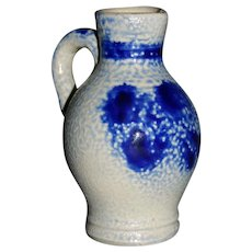 "Salt glazed cobalt 3 3/4"" Jug pitcher"