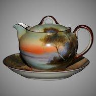 Hand painted Noritake porcelain Tea pot and saucer