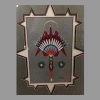 Original oil on board Native American Artist Allen Carney 1993