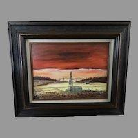 "Oil on canvas ""Good Morning Oklahoma"" signed Thomas"