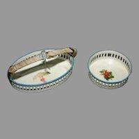 Vintage mini doll metal basket bowl