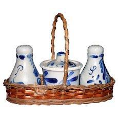 Pristine cobalt stoneware Salt & Pepper Jam jar