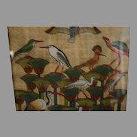 Vintage batik painted silk signed Oriental water fowl birds