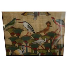 Vintage batik painted silk signed Oriental water fowl birds