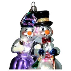 "Christopher Radko "" Happy New Years"" Snowman couple glass holiday ornament"