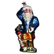 "Christopher Radko ""King of the Green"" golfer Santa glass holiday ornament"
