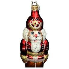 "Christopher Radko ""Tin Soldier"" Santa  glass holiday ornament"