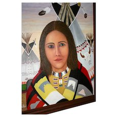 Native American artist original oil painting  Excellent Navajo