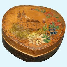 Darling French hand carved signed wood heart box