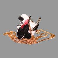 Miniature Panda bear necklace purse