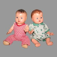 """Two little 9"""" composition baby dolls 1930's"""