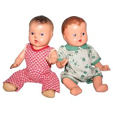 "Two little 9"" composition baby dolls 1930's"