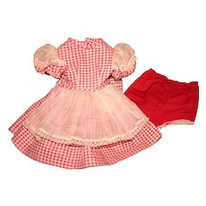 """Vintage red checked 50's dress for 14"""" doll"""