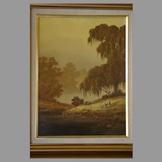 1986 Kenny McKenna Oil on Canvas Sheep Old Masters scene