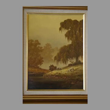 1986 Kenny McKenna Oil on Canvas Sheep Old Masters scene