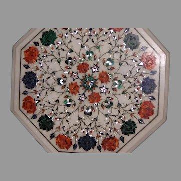 Inlaid semi precious white marble table top