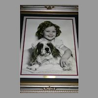 Rare Shirley Temple framed portrait with dog
