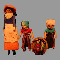 Clothe pin Lady doll plus 3 miniatures