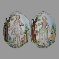 Mint Porcelain bisque Japan relief wall plaques