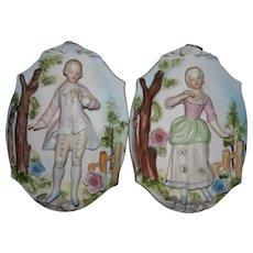 Mint Porcelain bisque Japan relief wall plaques