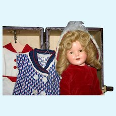 "13"" Ideal Shirley Temple 1930's with Trunk & wardrobe"